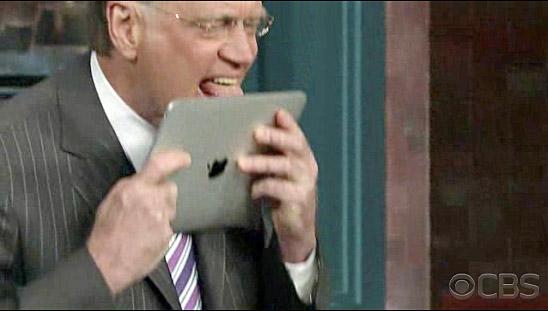 David Letterman Apple IPad Top Ten List Licks The IPad Video