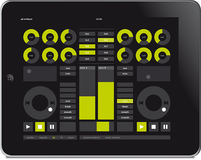 midipad ipad music app wireless touchscreen software controller for ableton live sequencer dj view