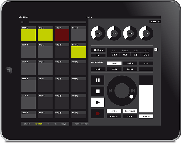 midipad ipad music app wireless touchscreen software controller for ableton live sequencer launch view record control