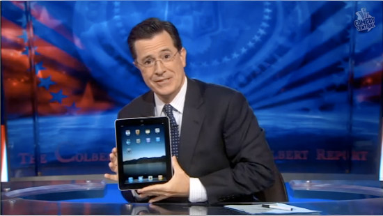 stephen colbert has an ipad video chops slices vegetables with ipad for salsa desk