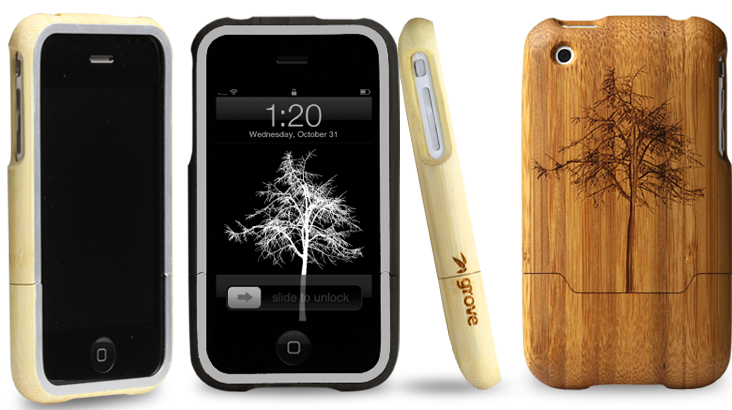 laser engraved bamboo iphone cases by grove black