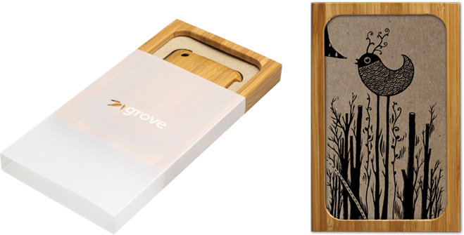 laser engraved bamboo iphone cases by grove package