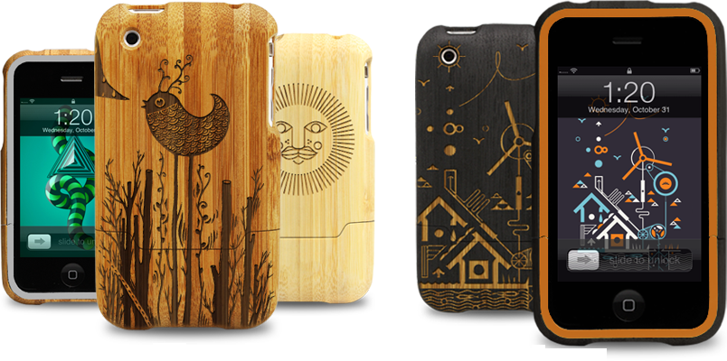 laser engraved bamboo iphone cases by grove select