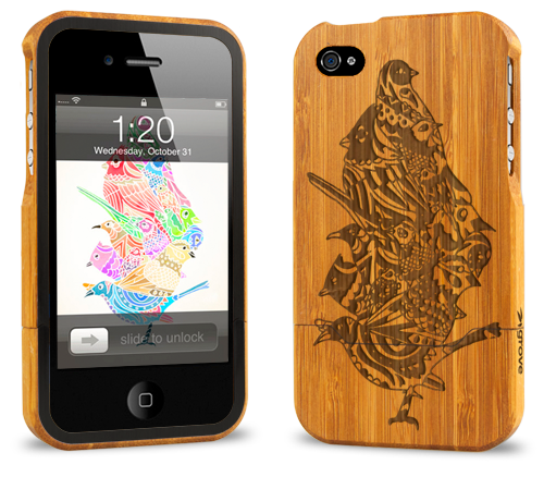 iphone 4 bamboo case grovemade laser engraved art designs cole
