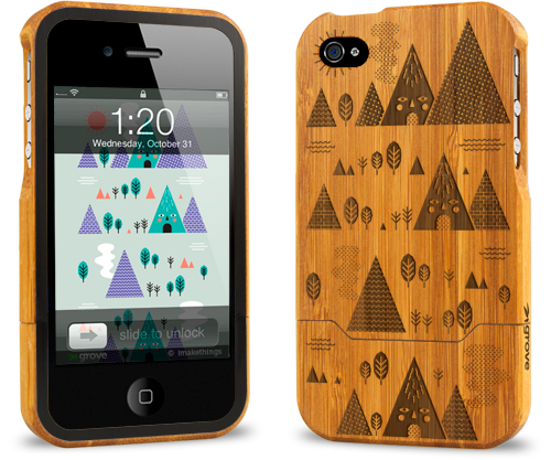 iphone 4 bamboo case grovemade laser engraved art designs groves