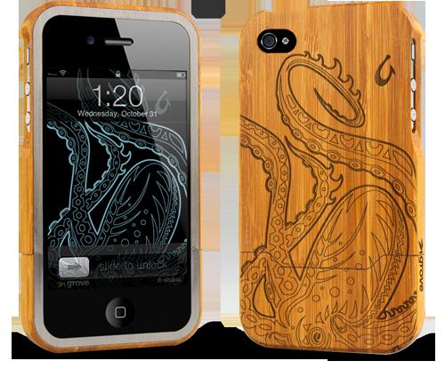 iphone 4 bamboo case grovemade laser engraved art designs olukai